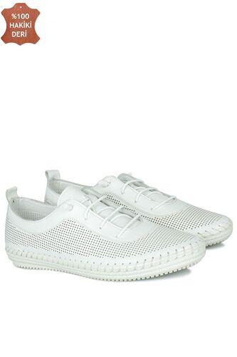 Fitbas 625040 468 Kadın Beyaz Deri Günlük Büyük Numara Ayakkabı