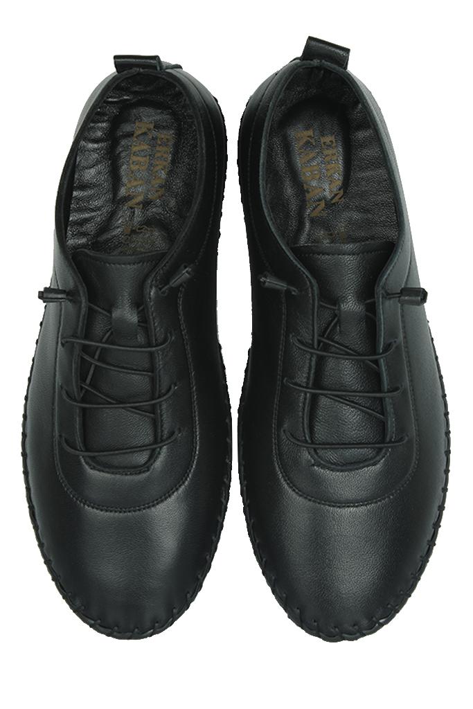 Erkan Kaban 625041 014 Kadın Siyah Deri Günlük Büyük Numara Ayakkabı