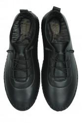 Erkan Kaban 625041 014 Kadın Siyah Deri Günlük Büyük Numara Ayakkabı - Thumbnail