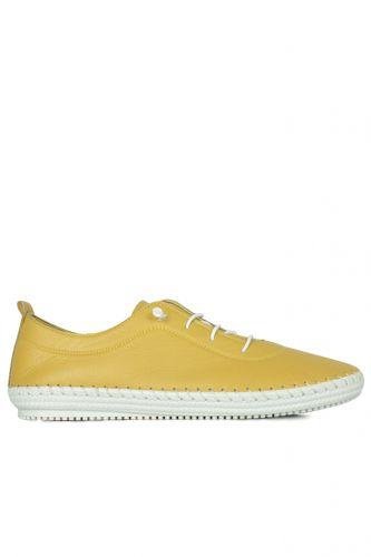 Fitbas - Fitbas 625041 124 Kadın Sarı Deri Günlük Büyük Numara Ayakkabı (1)