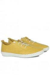 Fitbas 625041 124 Kadın Sarı Deri Günlük Büyük Numara Ayakkabı - Thumbnail