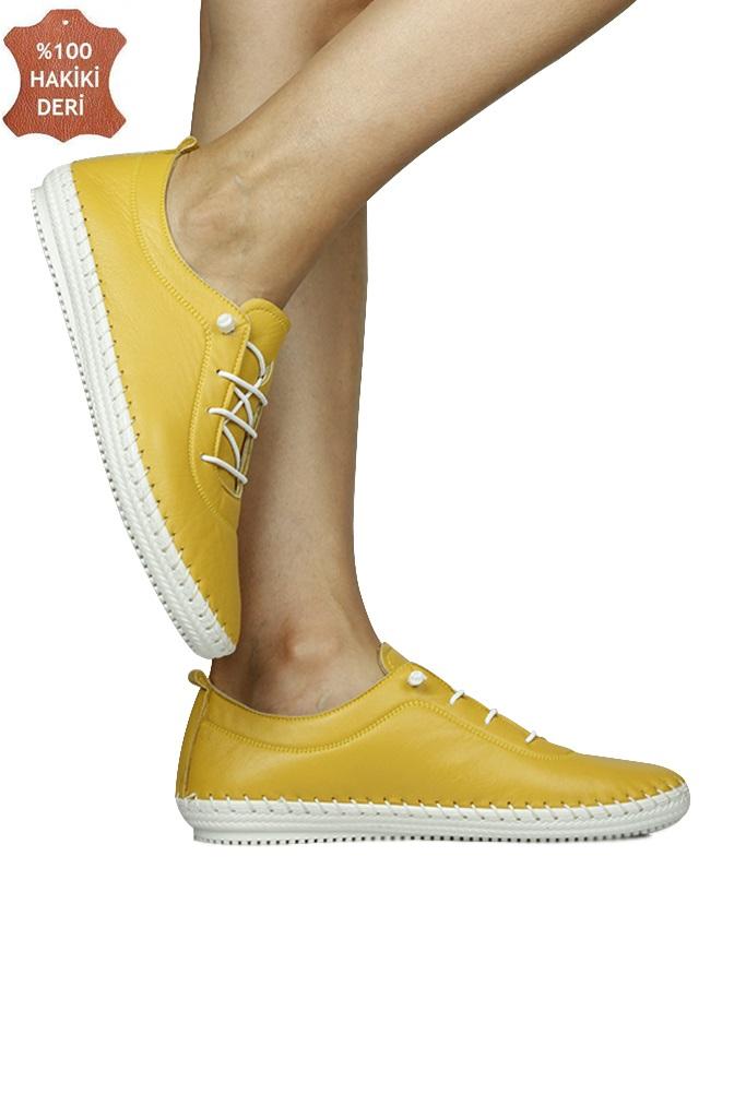 Fitbas 625041 124 Kadın Sarı Deri Günlük Büyük Numara Ayakkabı