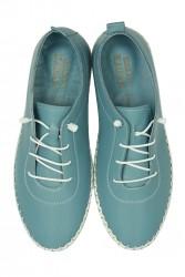 Fitbas 625041 424 Kadın Mavi Deri Günlük Büyük Numara Ayakkabı - Thumbnail