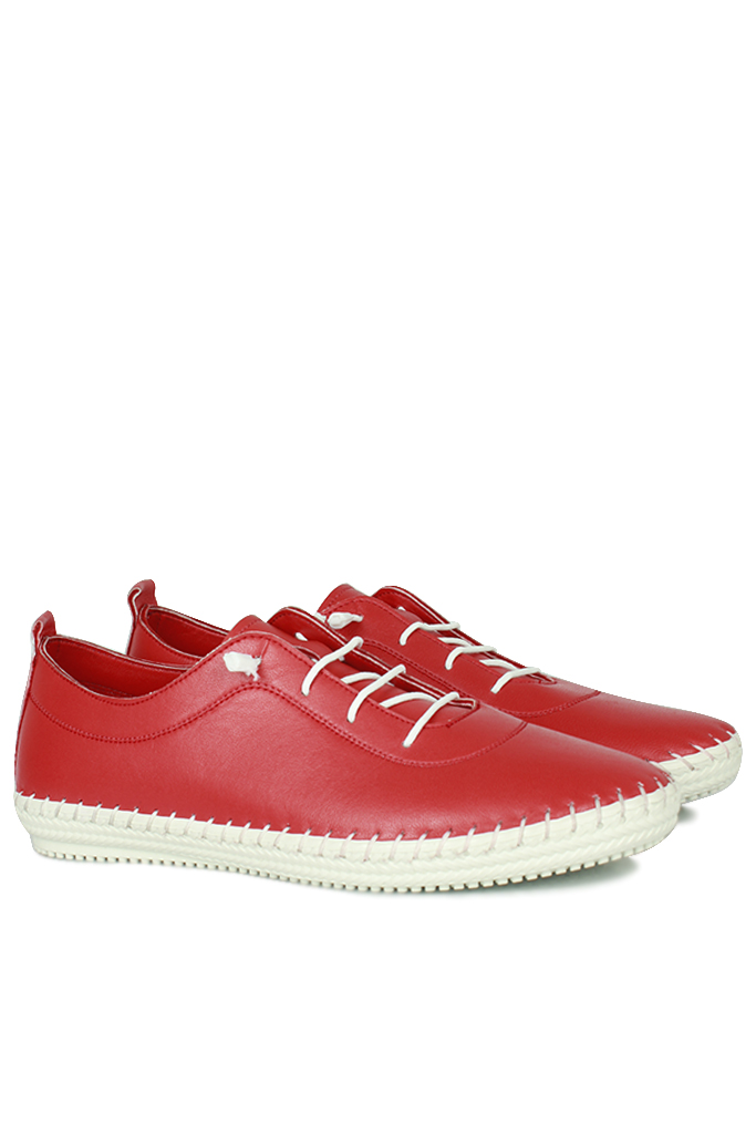 Erkan Kaban 625041 524 Kadın Kırmızı Deri Günlük Ayakkabı