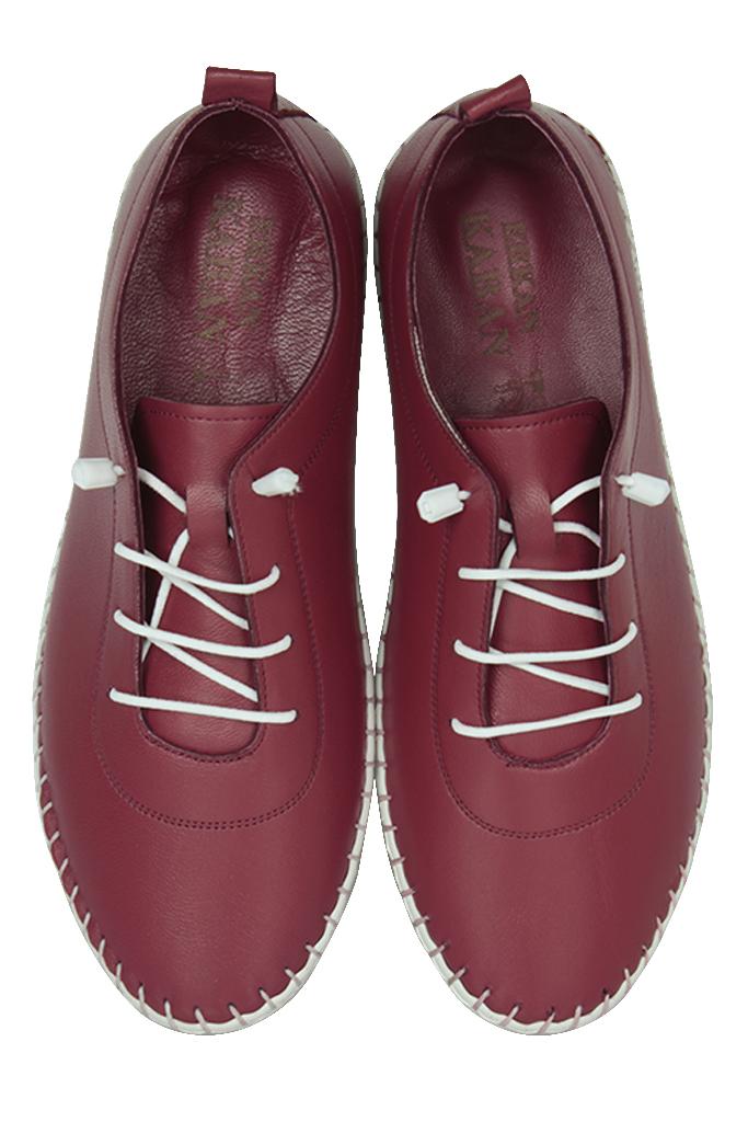 Erkan Kaban 625041 624 Kadın Bordo Deri Günlük Ayakkabı