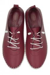 Erkan Kaban 625041 624 Kadın Bordo Deri Günlük Ayakkabı - Thumbnail
