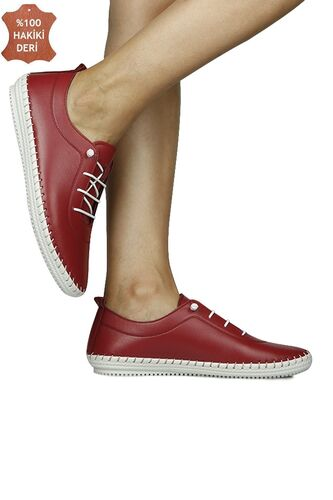Fitbas 625041 624 Kadın Bordo Deri Günlük Büyük Numara Ayakkabı