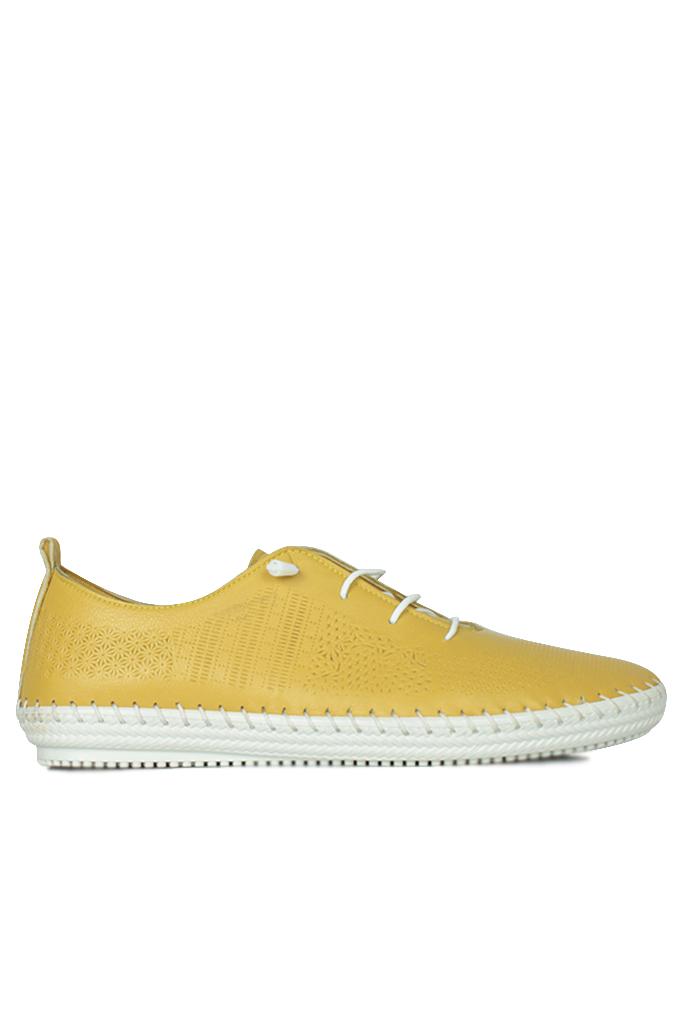 Fitbas 625042 124 Kadın Sarı Deri Günlük Büyük Numara Ayakkabı