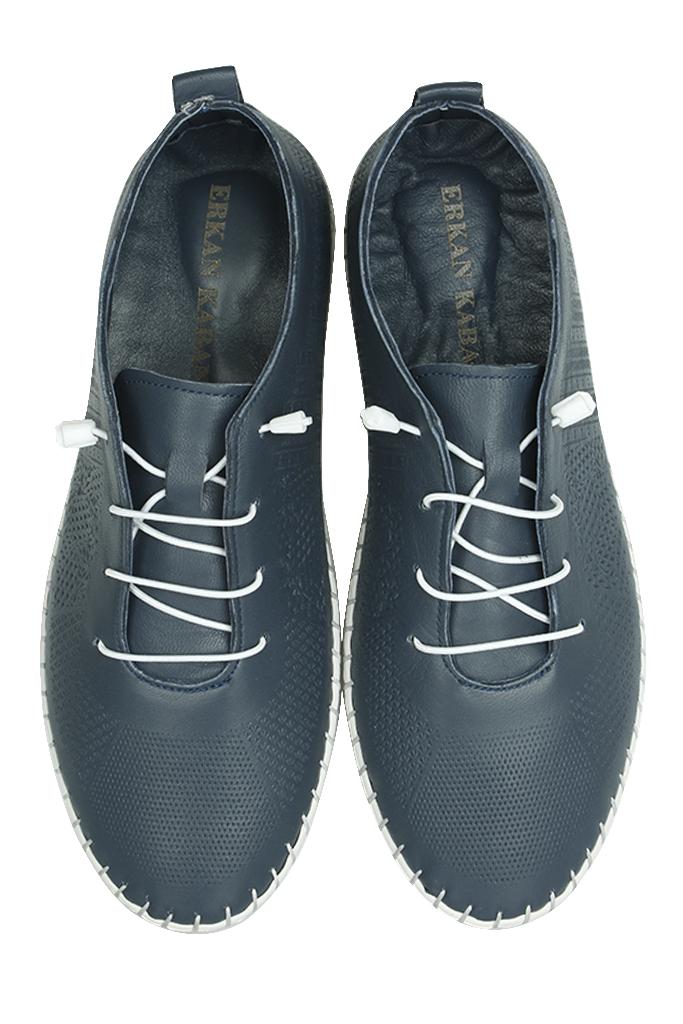 Erkan Kaban 625042 418 Kadın Lacivert Deri Günlük Ayakkabı