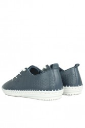 Fitbas 625042 418 Kadın Lacivert Deri Günlük Büyük Numara Ayakkabı - Thumbnail