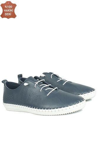 Fitbas 625042 418 Kadın Lacivert Deri Günlük Büyük Numara Ayakkabı