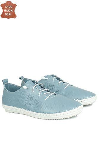 Fitbas 625042 424 Kadın Mavi Deri Günlük Büyük Numara Ayakkabı