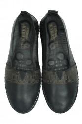 Erkan Kaban 625043 014 Kadın Siyah Deri Günlük Büyük Numara Ayakkabı - Thumbnail
