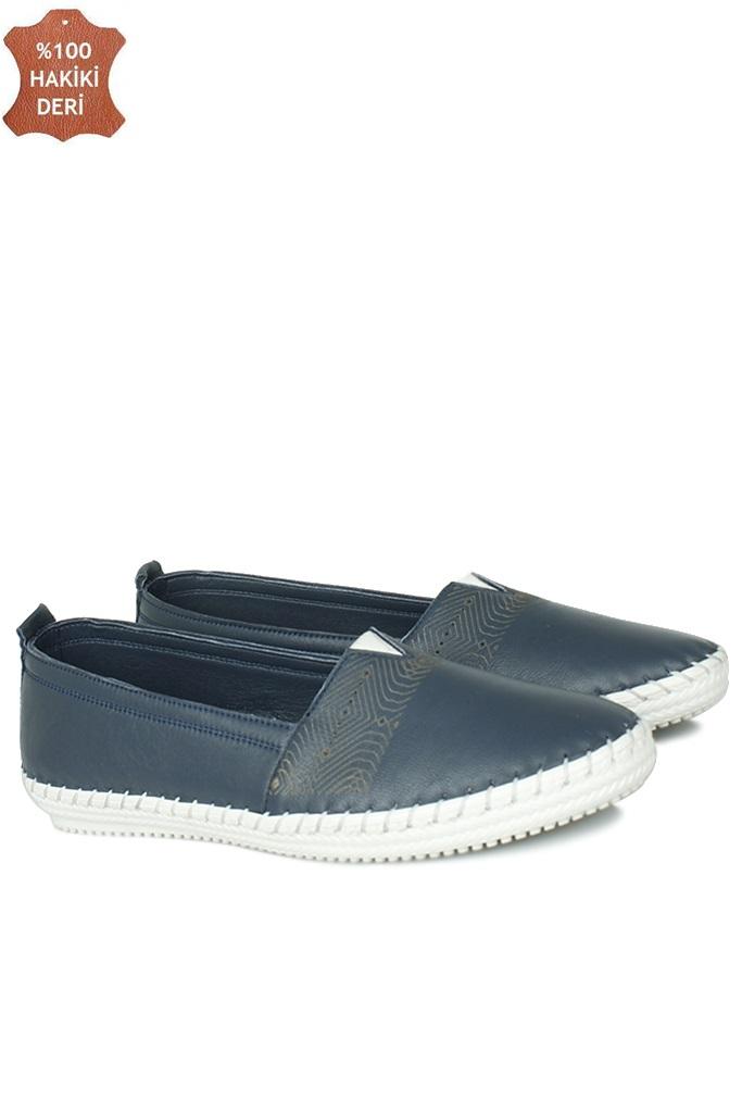 Fitbas 625043 418 Kadın Lacivert Deri Günlük Büyük Numara Ayakkabı