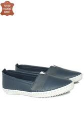 Fitbas 625043 418 Kadın Lacivert Deri Günlük Büyük Numara Ayakkabı - Thumbnail
