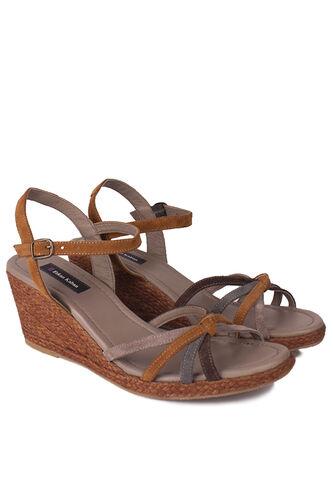 Fitbas - Fitbas 1314 167 Kadın Camel Süet Büyük & Küçük Numara Sandalet (1)