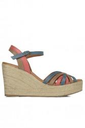 Fitbas 4389 705 Kadın Taba Mavi Kırmızı Büyük & Küçük Numara Sandalet - Thumbnail