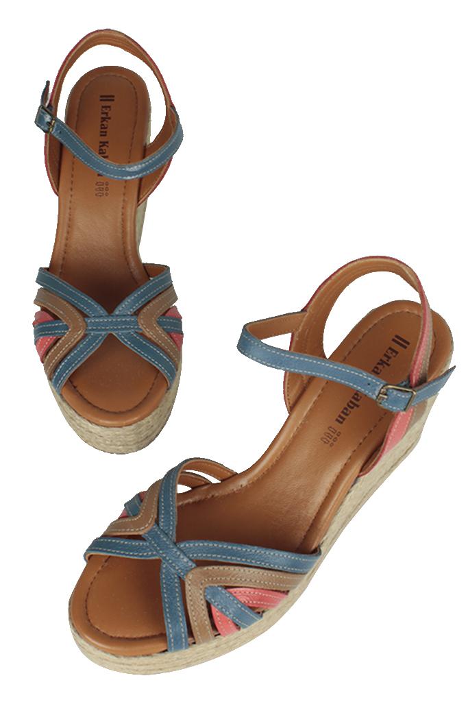 Erkan Kaban 4389 705 Kadın Taba Mavi Kırmızı Sandalet Ayakkabı