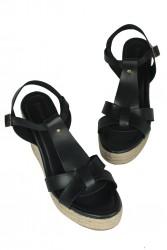 Erkan Kaban 5027 014 Kadın Siyah Büyük & Küçük Numara Sandalet - Thumbnail
