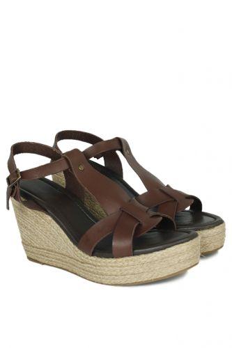 33 34 41 42 43 44 45 Küçük Büyük Numara Kadın Ayak - Erkan Kaban 5027 232 Kadın Kahve Sandalet Ayakkabı (1)
