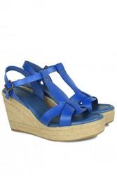 Fitbas 5027 424 Kadın Mavi Büyük & Küçük Numara Sandalet - Thumbnail