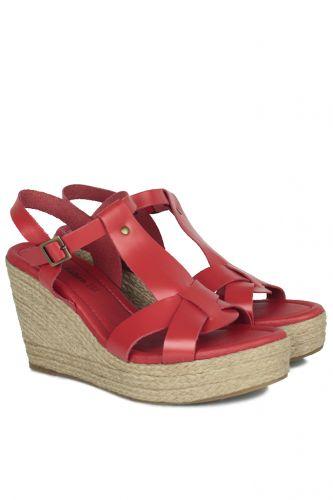 33 34 41 42 43 44 45 Küçük Büyük Numara Kadın Ayak - Erkan Kaban 5027 524 Kadın Kırmızı Sandalet Ayakkabı (1)