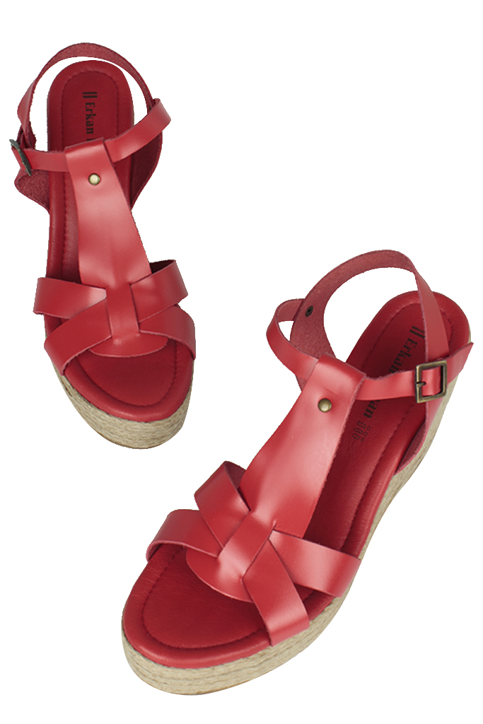 Erkan Kaban 5027 524 Kadın Kırmızı Sandalet Ayakkabı