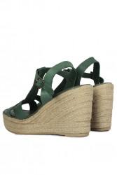 Fitbas 5027 677 Kadın Yeşil Büyük & Küçük Numara Sandalet - Thumbnail