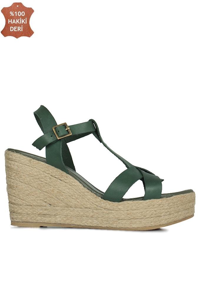 Fitbas 5027 677 Kadın Yeşil Büyük & Küçük Numara Sandalet