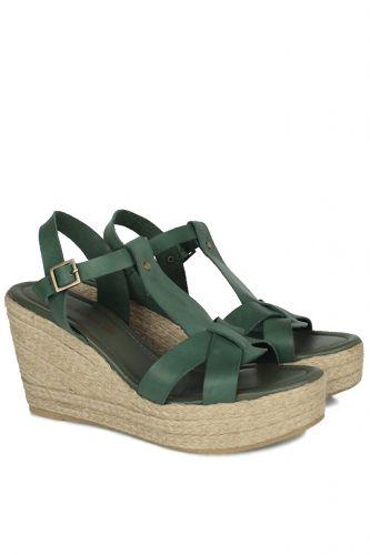 33 34 41 42 43 44 45 Küçük Büyük Numara Kadın Ayak - Erkan Kaban 5027 677 Kadın Yeşil Sandalet Ayakkabı (1)