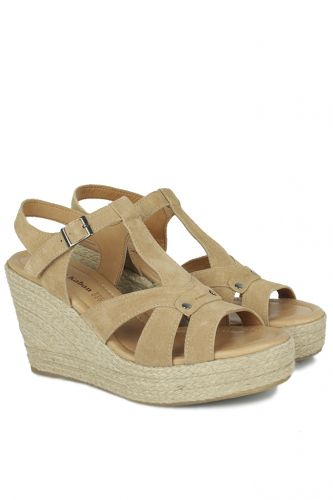 Fitbas - Fitbas 6608 167 Kadın Taba Büyük & Küçük Numara Sandalet (1)