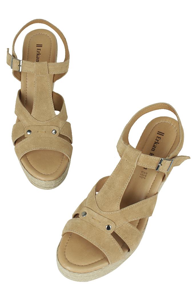 Erkan Kaban 6608 167 Kadın Taba Sandalet Ayakkabı