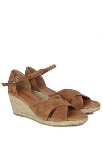 Fitbas - Fitbas 6620 162 Kadın Taba Süet Büyük & Küçük Numara Sandalet (1)