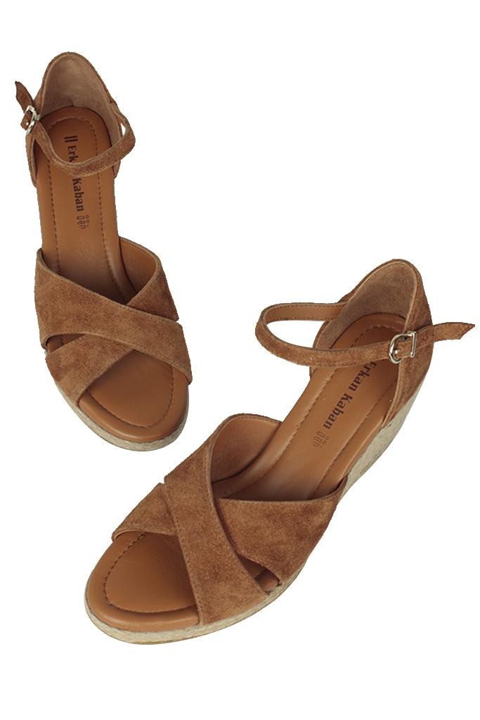 Fitbas 6620 162 Kadın Taba Süet Büyük & Küçük Numara Sandalet