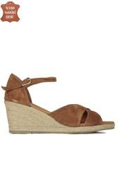 Fitbas 6620 162 Kadın Taba Süet Büyük & Küçük Numara Sandalet - Thumbnail