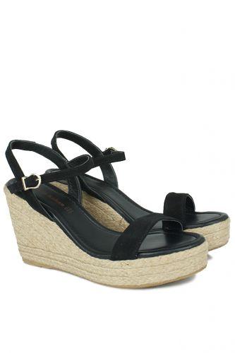 Erkan Kaban - Erkan Kaban 6662 008 Kadın Siyah Süet Dolgu Topuk Büyük & Küçük Numara Sandalet (1)