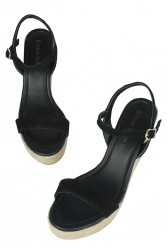 Fitbas 6662 008 Kadın Siyah Süet Dolgu Topuk Büyük & Küçük Numara Sandalet - Thumbnail