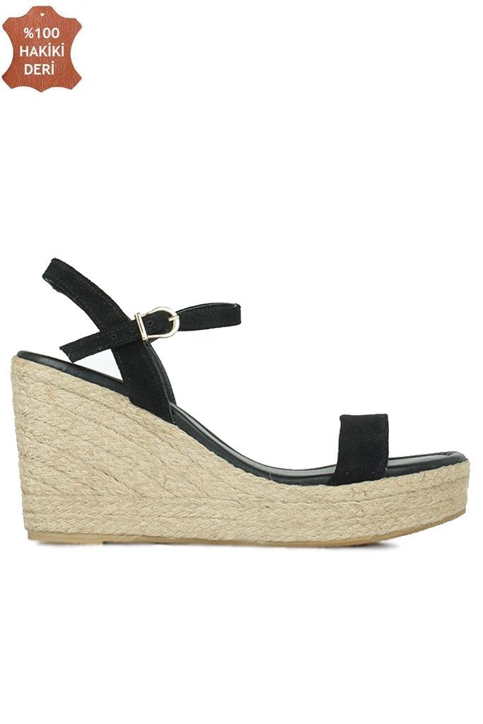 Fitbas 6662 008 Kadın Siyah Süet Dolgu Topuk Büyük & Küçük Numara Sandalet