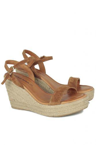 Fitbas - Fitbas 6662 167 Kadın Taba Süet Dolgu Topuk Büyük & Küçük Numara Sandalet (1)