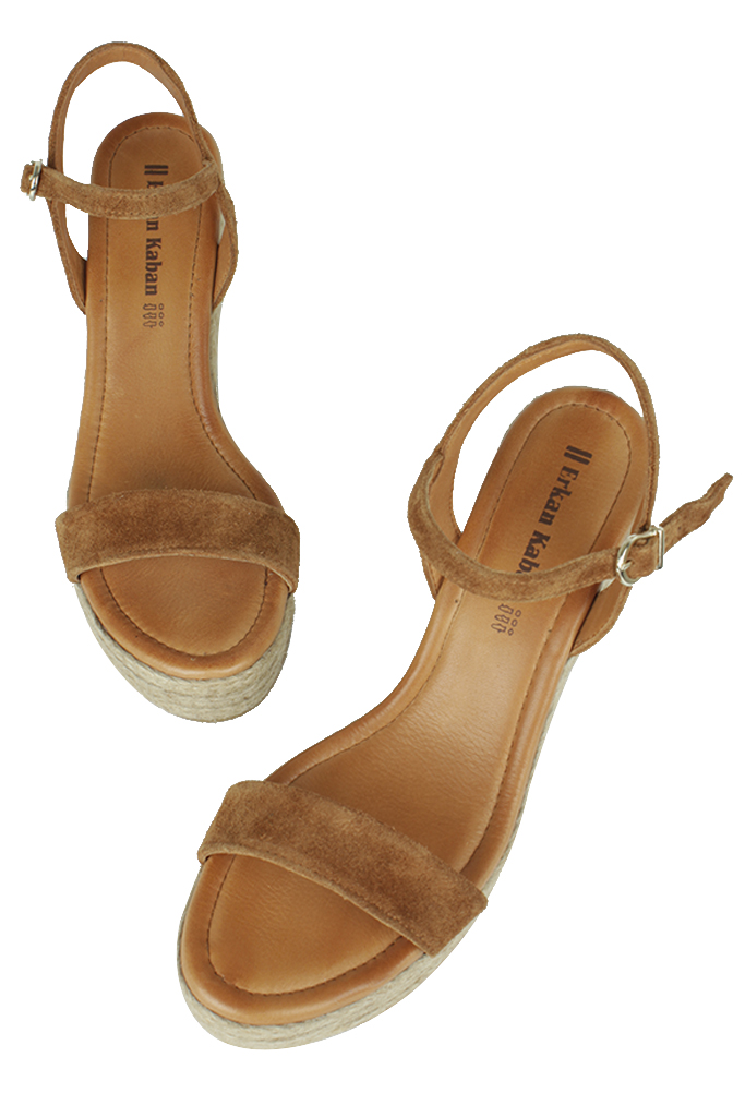 Erkan Kaban 6662 167 Kadın Taba Süet Dolgu Topuk Büyük & Küçük Numara Sandalet