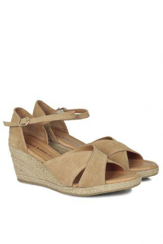 Fitbas - Fitbas 6620 167 Kadın Camel Süet Büyük & Küçük Numara Sandalet (1)