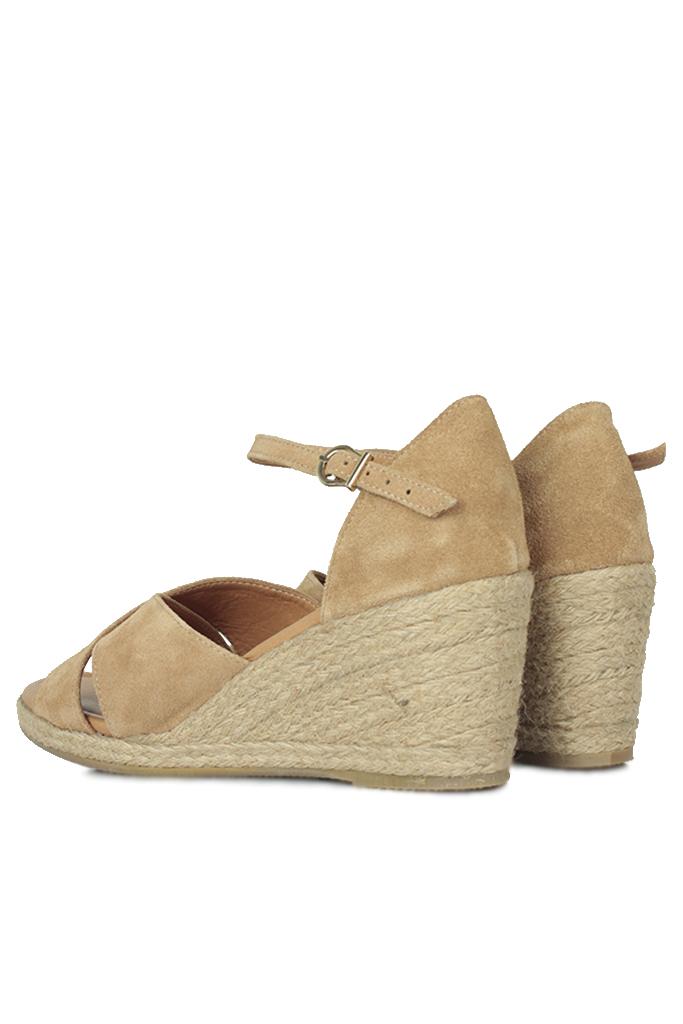 Fitbas 6620 167 Kadın Camel Süet Büyük & Küçük Numara Sandalet