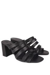 Fitbas 111143 014 Kadın Siyah Topuklu Büyük & Küçük Numara Yazlık Ayakkabı - Thumbnail
