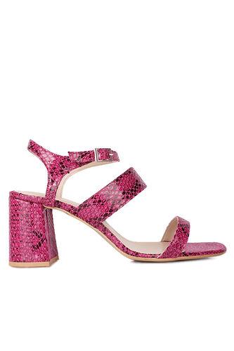 Fitbas 111152 926 Kadın Fuşya Yılan Topuklu Büyük & Küçük Numara Sandalet