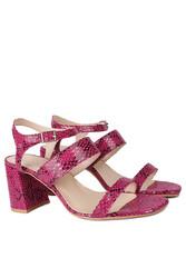 Fitbas 111152 926 Kadın Fuşya Yılan Topuklu Büyük & Küçük Numara Sandalet - Thumbnail