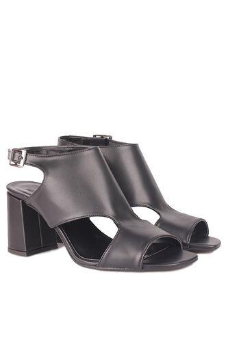 Fitbas - Fitbas 111300 014 Kadın Siyah Topuklu Büyük & Küçük Numara Yazlık Ayakkabı (1)