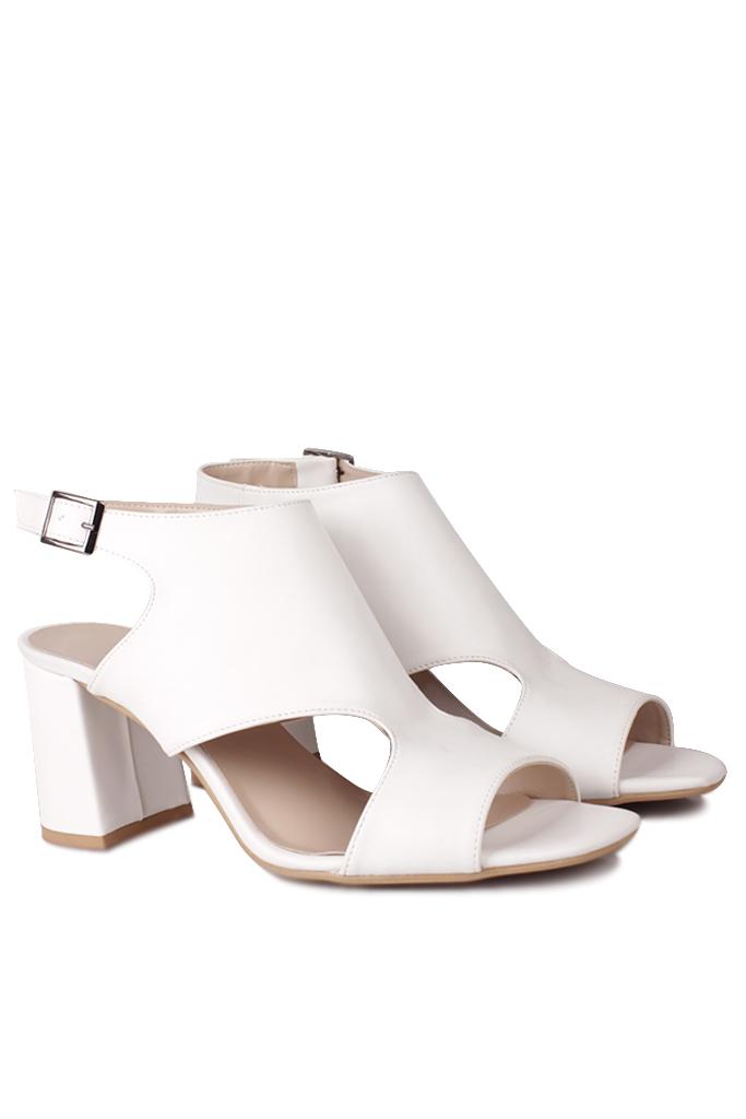 Fitbas 111300 468 Kadın Beyaz Topuklu Büyük & Küçük Numara Yazlık Ayakkabı