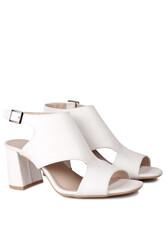 Fitbas 111300 468 Kadın Beyaz Topuklu Büyük & Küçük Numara Yazlık Ayakkabı - Thumbnail