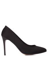 Fitbas 111500 008 Kadın Siyah Süet Büyük & Küçük Numara Stiletto - Thumbnail