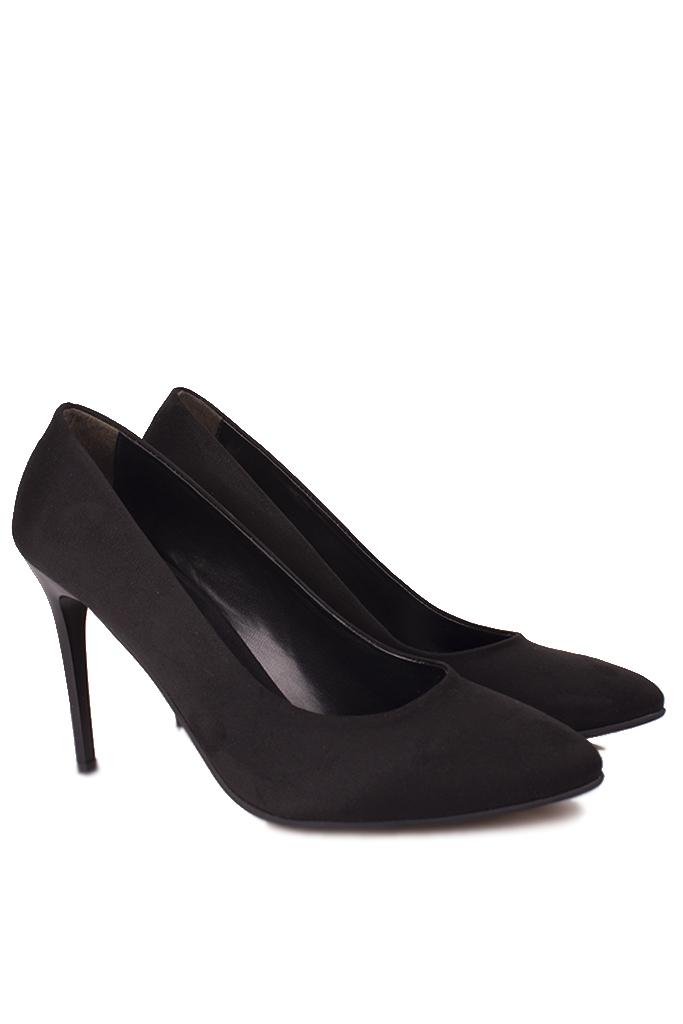 Fitbas 111500 008 Kadın Siyah Süet Büyük & Küçük Numara Stiletto